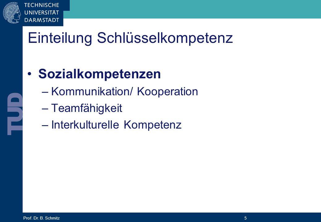Prof. Dr. B. Schmitz 5 Einteilung Schlüsselkompetenz Sozialkompetenzen –Kommunikation/ Kooperation –Teamfähigkeit –Interkulturelle Kompetenz