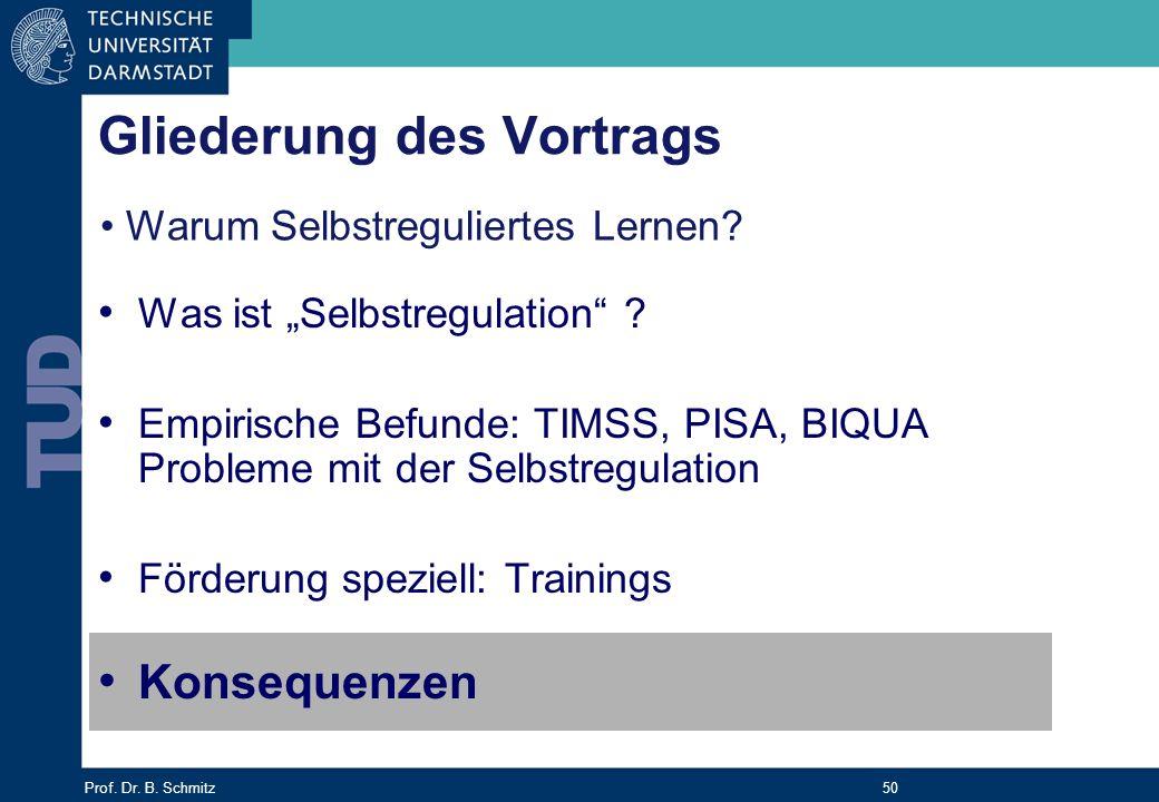 Prof. Dr. B. Schmitz 50 Gliederung des Vortrags Was ist Selbstregulation ? Empirische Befunde: TIMSS, PISA, BIQUA Probleme mit der Selbstregulation Fö