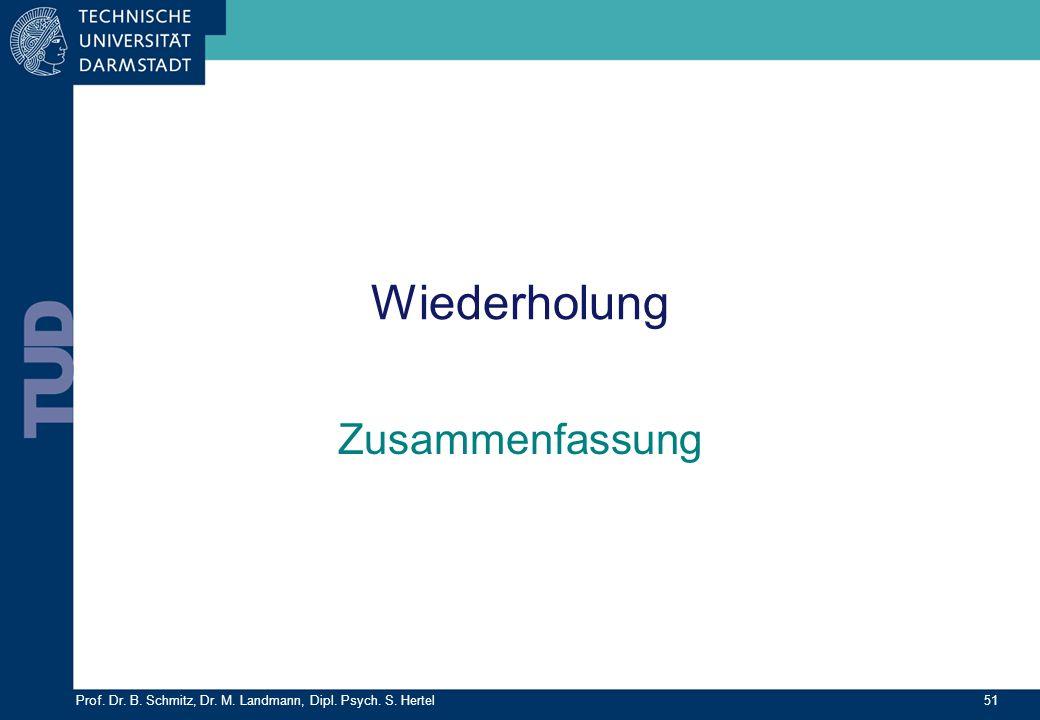 Prof. Dr. B. Schmitz, Dr. M. Landmann, Dipl. Psych. S. Hertel 51 Wiederholung Zusammenfassung