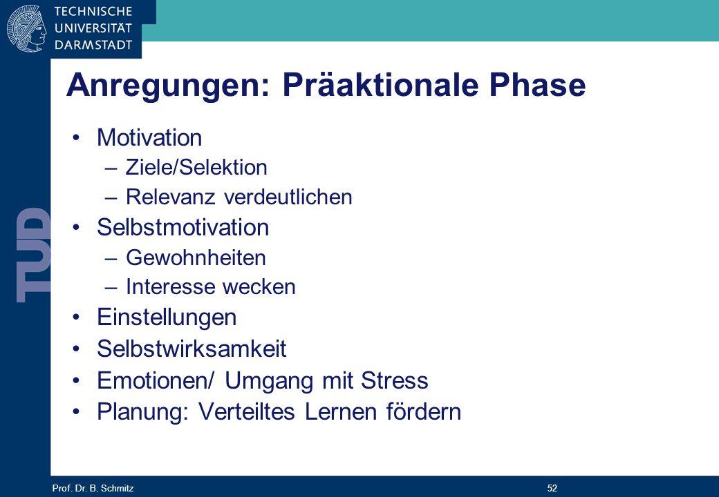 Prof. Dr. B. Schmitz 52 Anregungen: Präaktionale Phase Motivation –Ziele/Selektion –Relevanz verdeutlichen Selbstmotivation –Gewohnheiten –Interesse w