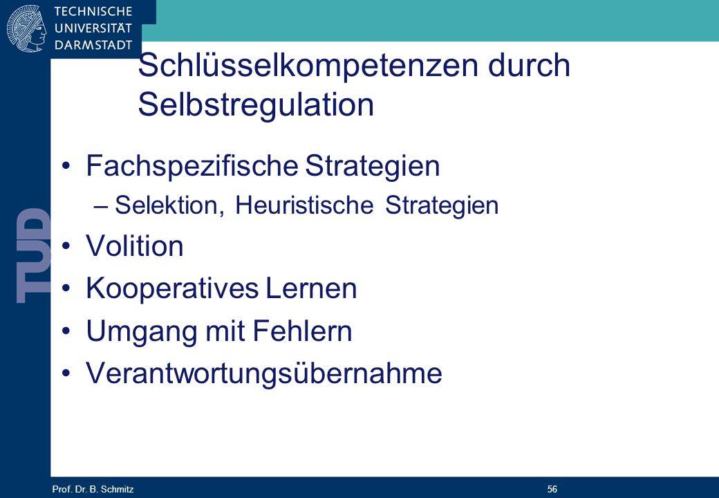 Prof. Dr. B. Schmitz 56 Schlüsselkompetenzen durch Selbstregulation Fachspezifische Strategien –Selektion, Heuristische Strategien Volition Kooperativ