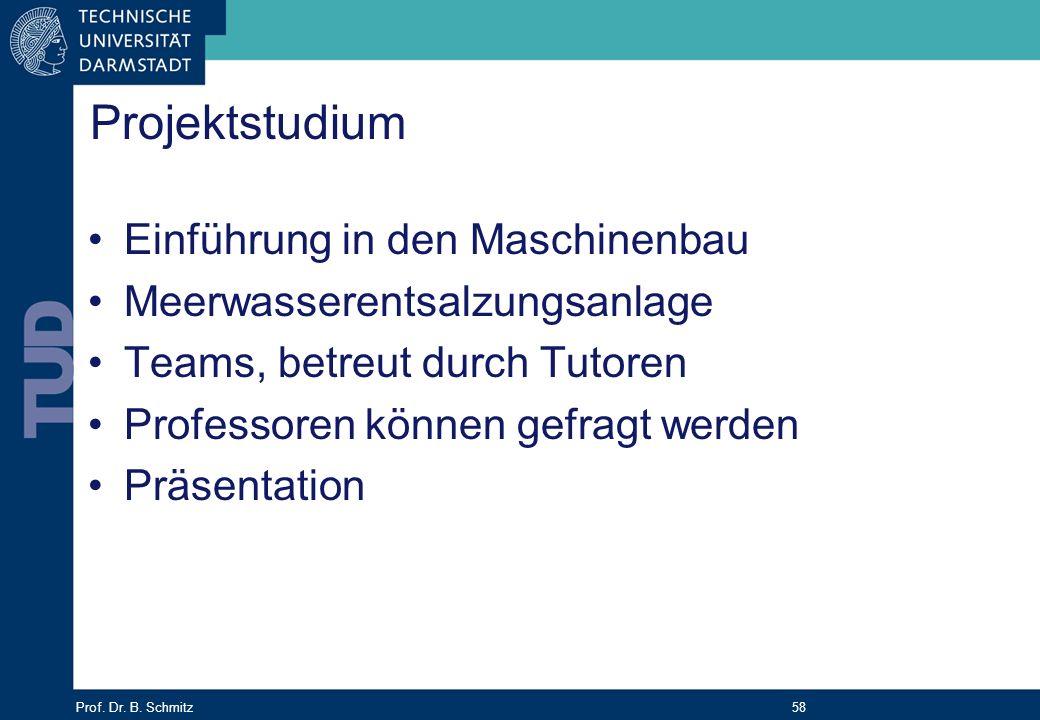 Prof. Dr. B. Schmitz 58 Projektstudium Einführung in den Maschinenbau Meerwasserentsalzungsanlage Teams, betreut durch Tutoren Professoren können gefr