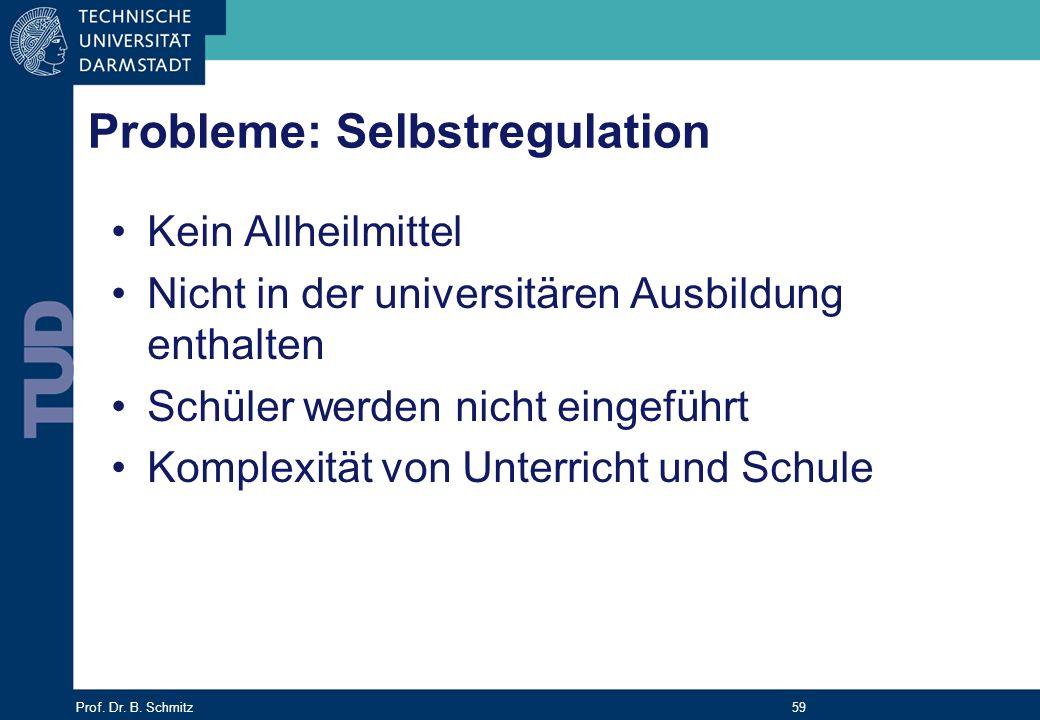 Prof. Dr. B. Schmitz 59 Probleme: Selbstregulation Kein Allheilmittel Nicht in der universitären Ausbildung enthalten Schüler werden nicht eingeführt