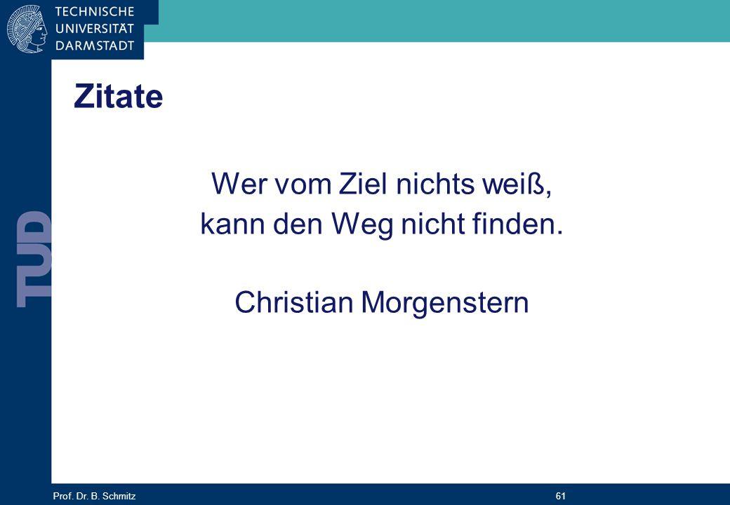 Prof. Dr. B. Schmitz 61 Zitate Wer vom Ziel nichts weiß, kann den Weg nicht finden. Christian Morgenstern