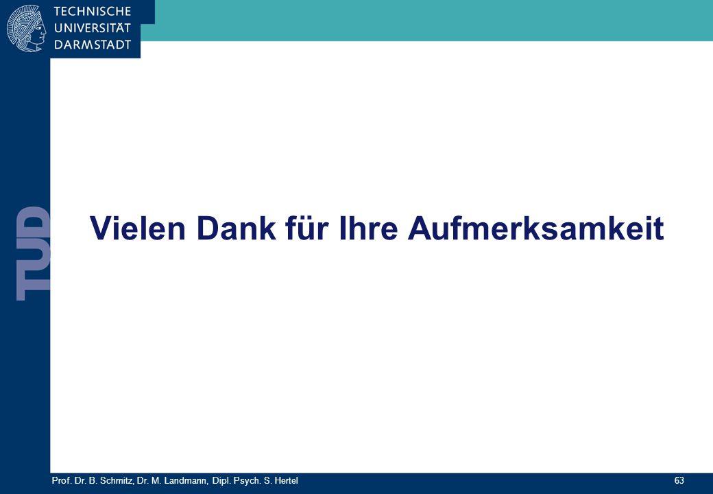 Prof. Dr. B. Schmitz, Dr. M. Landmann, Dipl. Psych. S. Hertel 63 Vielen Dank für Ihre Aufmerksamkeit