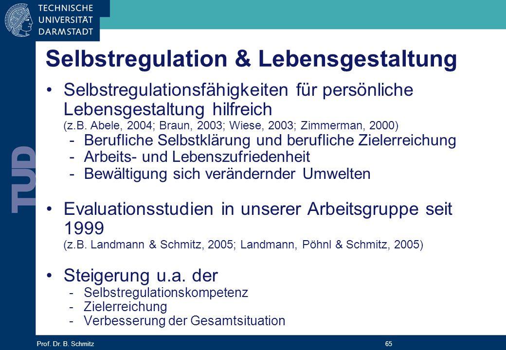 Prof. Dr. B. Schmitz 65 Selbstregulationsfähigkeiten für persönliche Lebensgestaltung hilfreich (z.B. Abele, 2004; Braun, 2003; Wiese, 2003; Zimmerman