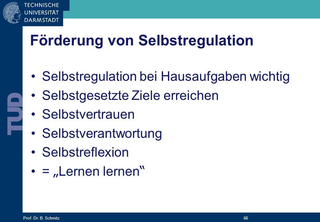 Prof. Dr. B. Schmitz 66 Förderung von Selbstregulation Selbstregulation bei Hausaufgaben wichtig Selbstgesetzte Ziele erreichen Selbstvertrauen Selbst