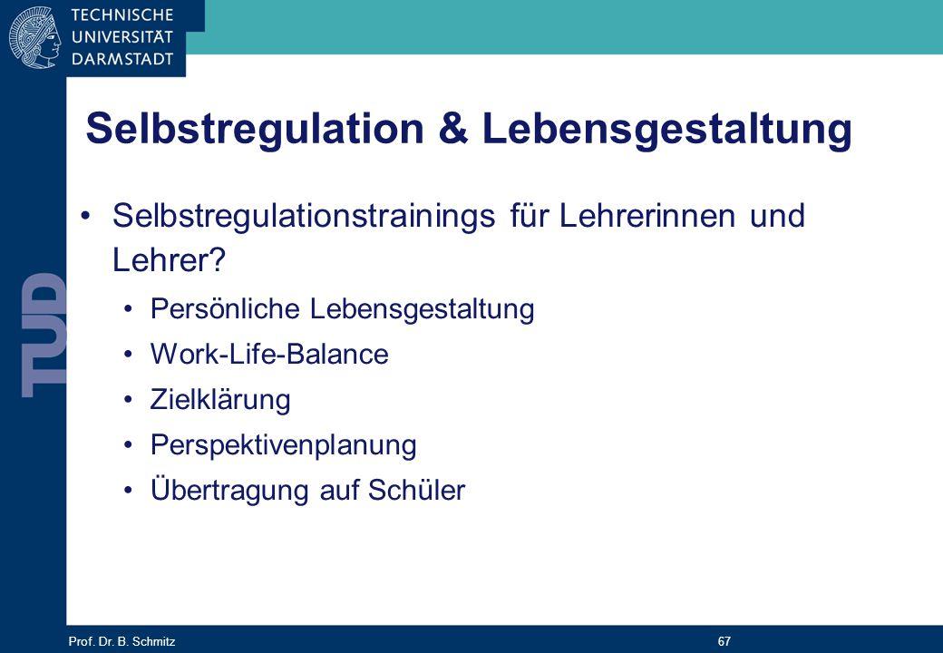 Prof. Dr. B. Schmitz 67 Selbstregulationstrainings für Lehrerinnen und Lehrer? Persönliche Lebensgestaltung Work-Life-Balance Zielklärung Perspektiven