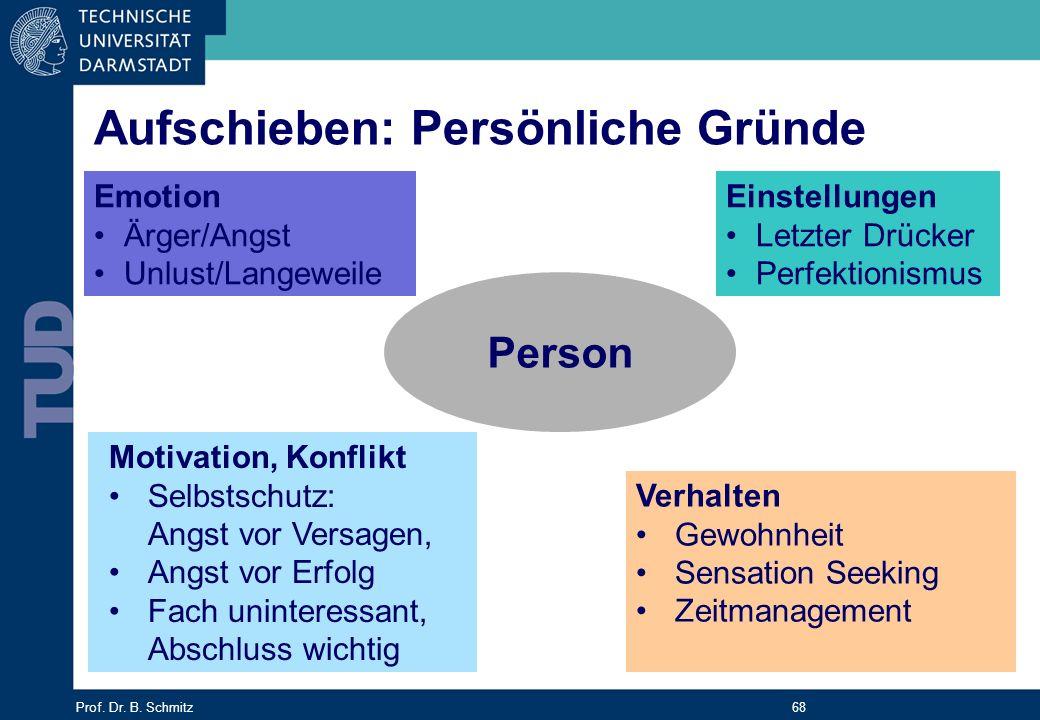 Prof. Dr. B. Schmitz 68 Person Emotion Ärger/Angst Unlust/Langeweile Einstellungen Letzter Drücker Perfektionismus Motivation, Konflikt Selbstschutz: