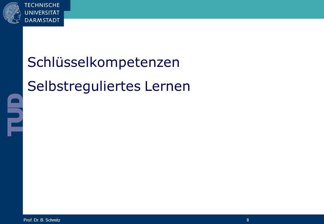 Prof. Dr. B. Schmitz 8 Schlüsselkompetenzen Selbstreguliertes Lernen
