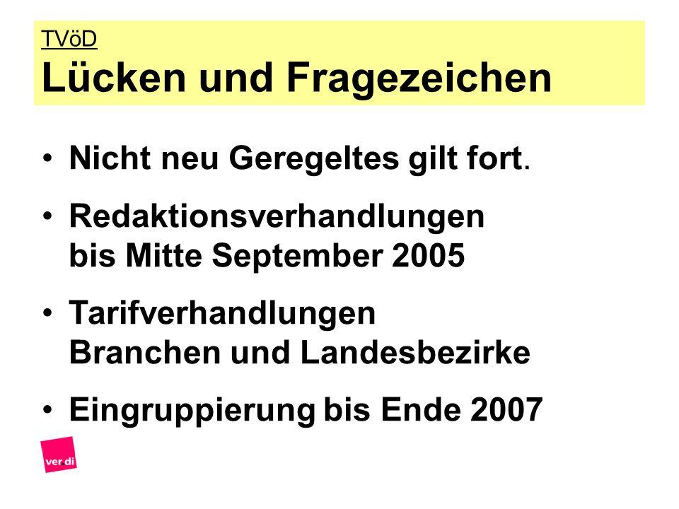Nicht neu Geregeltes gilt fort. Redaktionsverhandlungen bis Mitte September 2005 Tarifverhandlungen Branchen und Landesbezirke Eingruppierung bis Ende