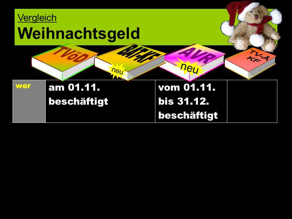 Vergleich Weihnachtsgeld wer am 01.11. beschäftigt vom 01.11. bis 31.12. beschäftigt neu