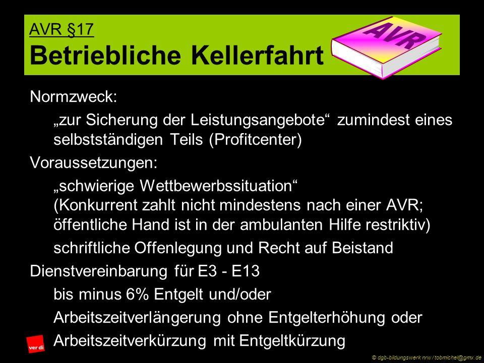 AVR §17 Betriebliche Kellerfahrt Normzweck: zur Sicherung der Leistungsangebote zumindest eines selbstständigen Teils (Profitcenter) Voraussetzungen: