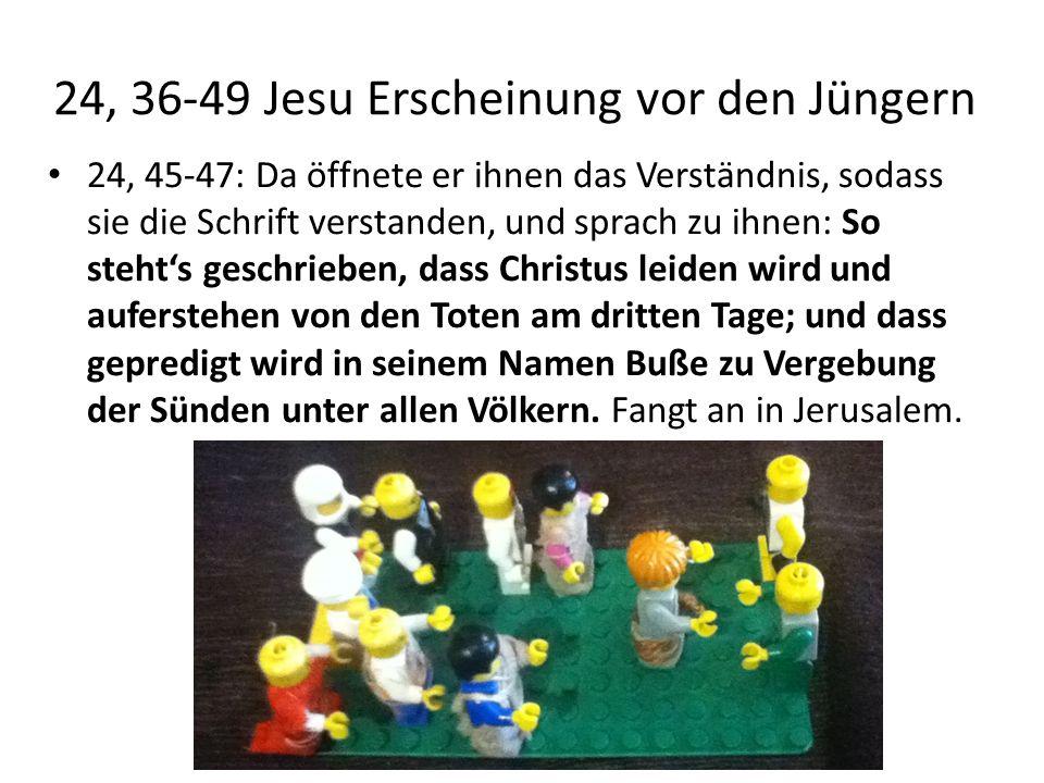 24, 36-49 Jesu Erscheinung vor den Jüngern 24, 45-47: Da öffnete er ihnen das Verständnis, sodass sie die Schrift verstanden, und sprach zu ihnen: So