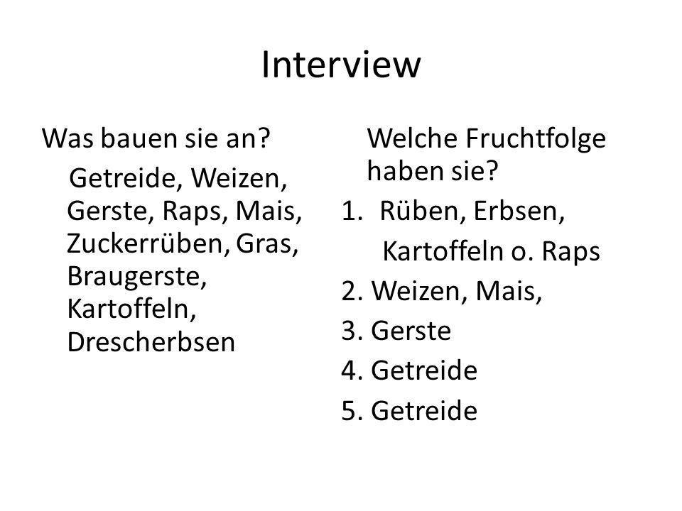 Interview Was bauen sie an? Getreide, Weizen, Gerste, Raps, Mais, Zuckerrüben, Gras, Braugerste, Kartoffeln, Drescherbsen Welche Fruchtfolge haben sie