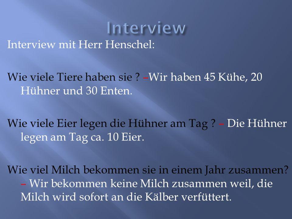 Interview mit Herr Henschel: Wie viele Tiere haben sie ? –Wir haben 45 Kühe, 20 Hühner und 30 Enten. Wie viele Eier legen die Hühner am Tag ? – Die Hü