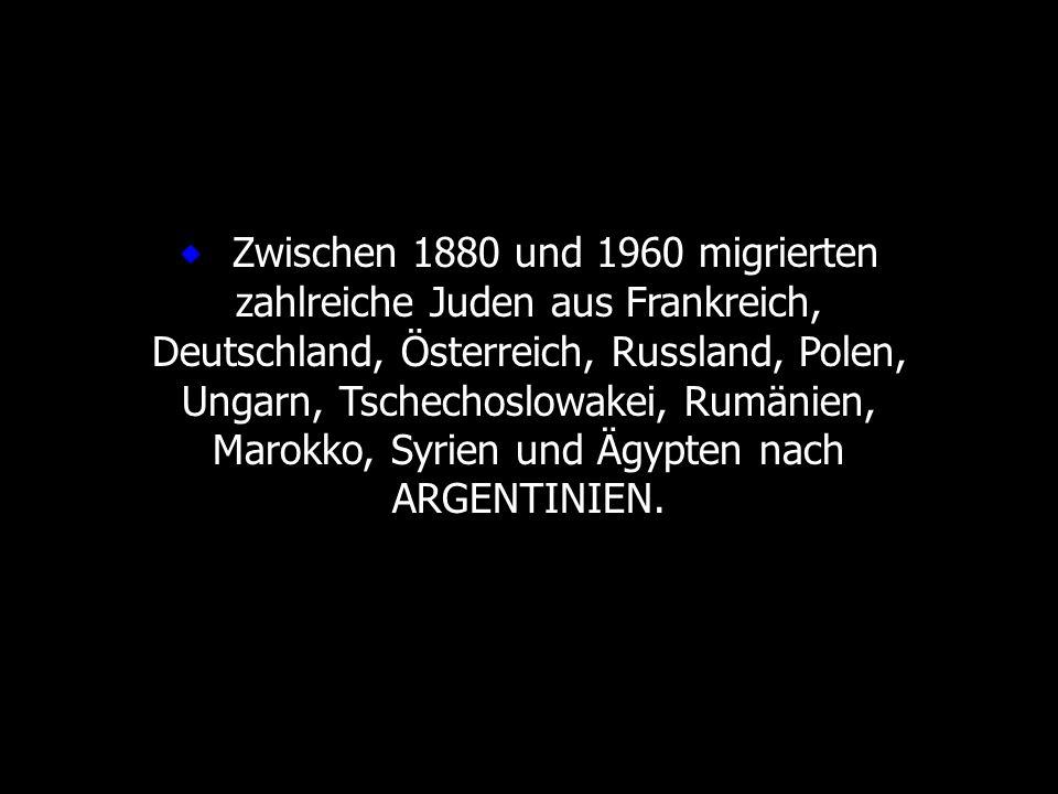 Zwischen 1880 und 1960 migrierten zahlreiche Juden aus Frankreich, Deutschland, Österreich, Russland, Polen, Ungarn, Tschechoslowakei, Rumänien, Marok
