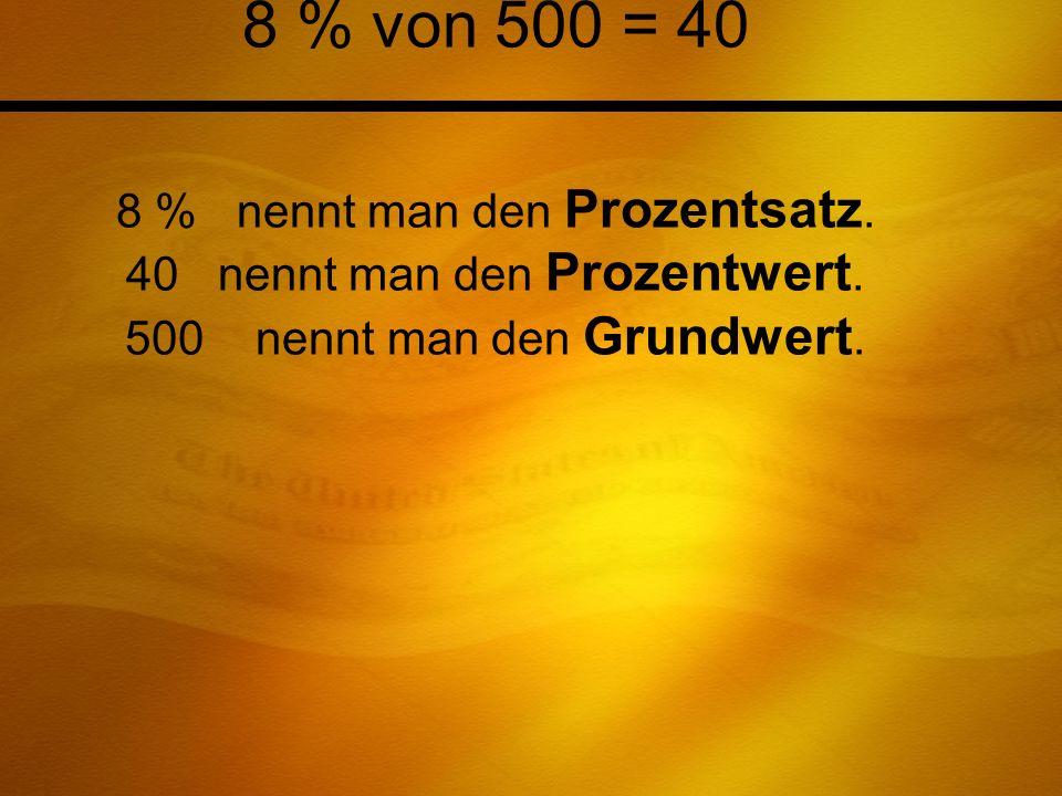 8 % von 500 = 40 8 % nennt man den Prozentsatz. 40 nennt man den Prozentwert. 500 nennt man den Grundwert.
