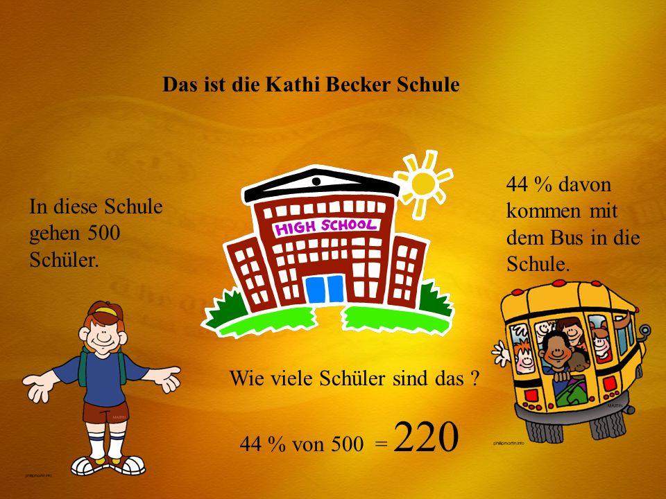 Das ist die Kathi Becker Schule In diese Schule gehen 500 Schüler. 44 % davon kommen mit dem Bus in die Schule. Wie viele Schüler sind das ? 44 % von