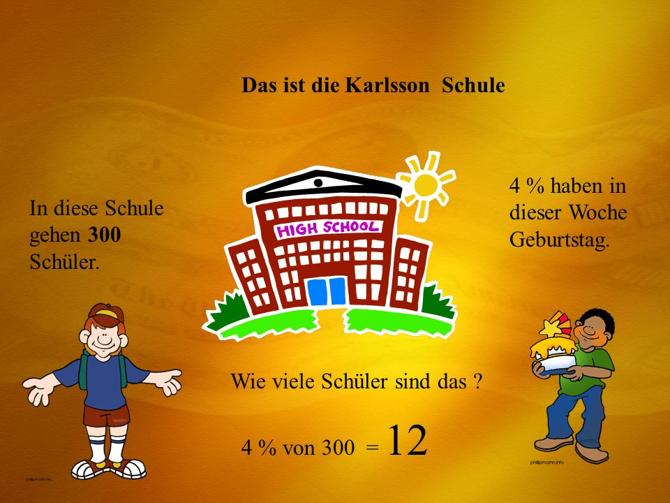 Das ist die Karlsson Schule In diese Schule gehen 300 Schüler. 4 % haben in dieser Woche Geburtstag. Wie viele Schüler sind das ? 4 % von 300 = 12