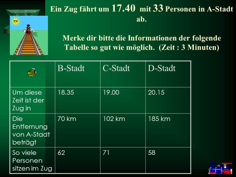 Ein Zug fährt um 17.40 mit 33 Personen in A-Stadt ab.