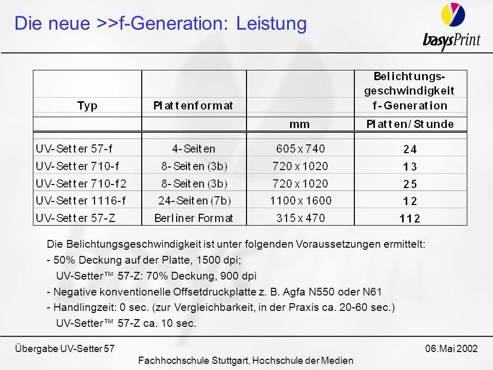 Übergabe UV-Setter 57 06.Mai 2002 Fachhochschule Stuttgart, Hochschule der Medien Die neue >>f-Generation: Leistung Die Belichtungsgeschwindigkeit ist
