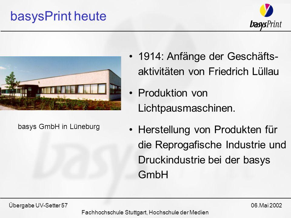 basysPrint heute 1914: Anfänge der Geschäfts- aktivitäten von Friedrich Lüllau Produktion von Lichtpausmaschinen. Herstellung von Produkten für die Re