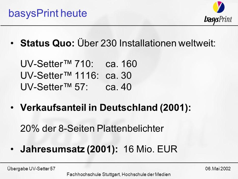 Übergabe UV-Setter 57 06.Mai 2002 Fachhochschule Stuttgart, Hochschule der Medien Status Quo: Über 230 Installationen weltweit: UV-Setter 710:ca. 160
