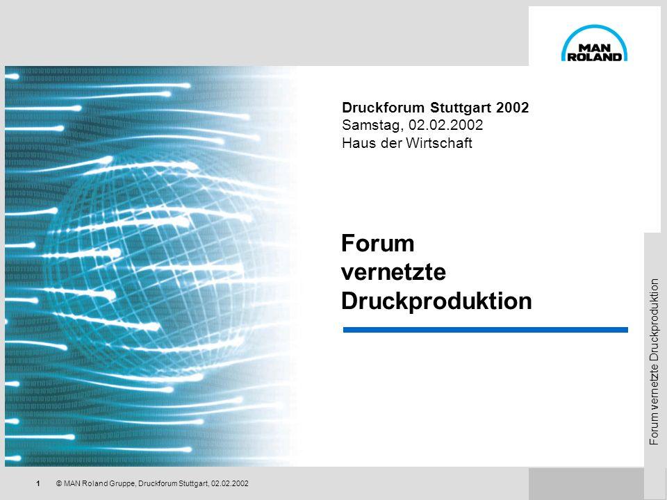 Forum vernetzte Druckproduktion 41© MAN Roland Gruppe, Druckforum Stuttgart, 02.02.2002 Rüsten Farbwerk Farbwerk an/aus Verreibungseinsatz (Roland 700/900) Farbschieberstellung Hebertakt (Roland 700/900) Heberstreifen