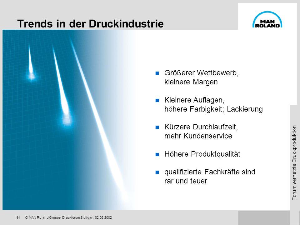 Forum vernetzte Druckproduktion 10© MAN Roland Gruppe, Druckforum Stuttgart, 02.02.2002 Globalisierung und Konzentration Verlagsdruck Gannett Group –