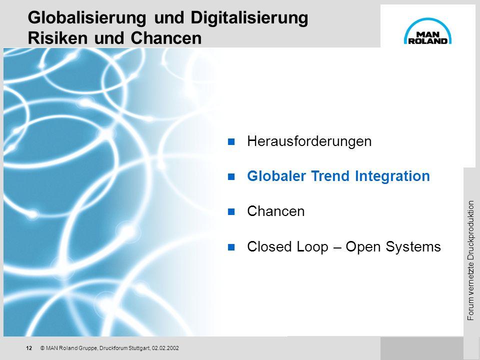 Forum vernetzte Druckproduktion 11© MAN Roland Gruppe, Druckforum Stuttgart, 02.02.2002 Trends in der Druckindustrie Größerer Wettbewerb, kleinere Mar
