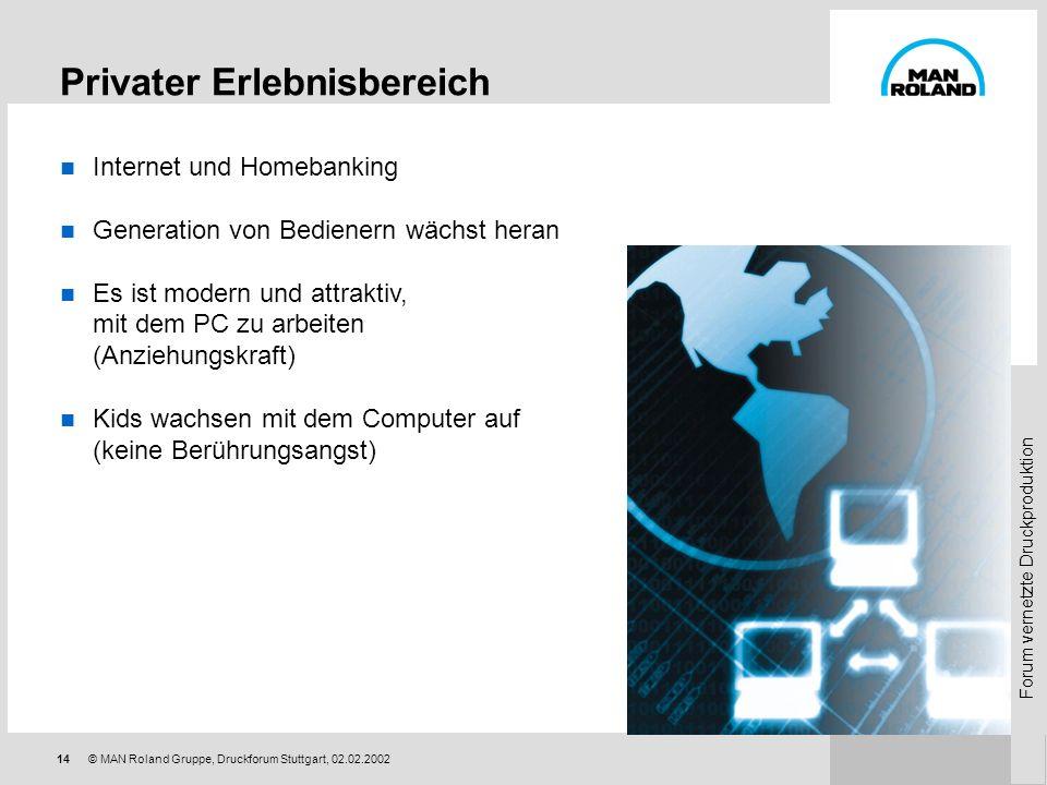 Forum vernetzte Druckproduktion 13© MAN Roland Gruppe, Druckforum Stuttgart, 02.02.2002 Schlagworte: Prozesse Workflow Material- und Informationslogis