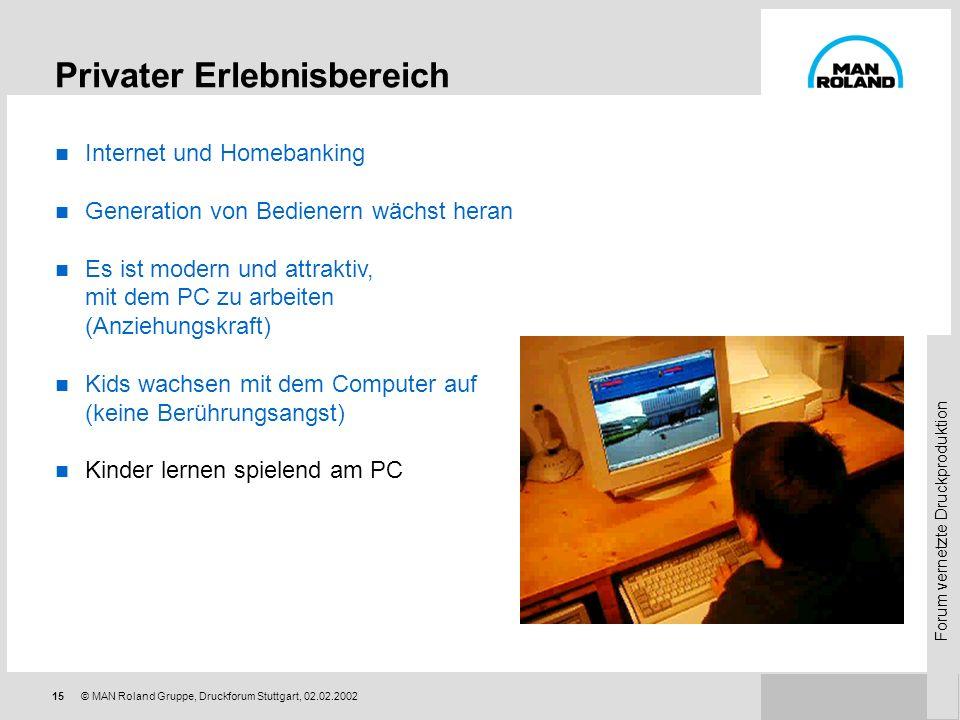 Forum vernetzte Druckproduktion 14© MAN Roland Gruppe, Druckforum Stuttgart, 02.02.2002 Privater Erlebnisbereich Internet und Homebanking Generation v