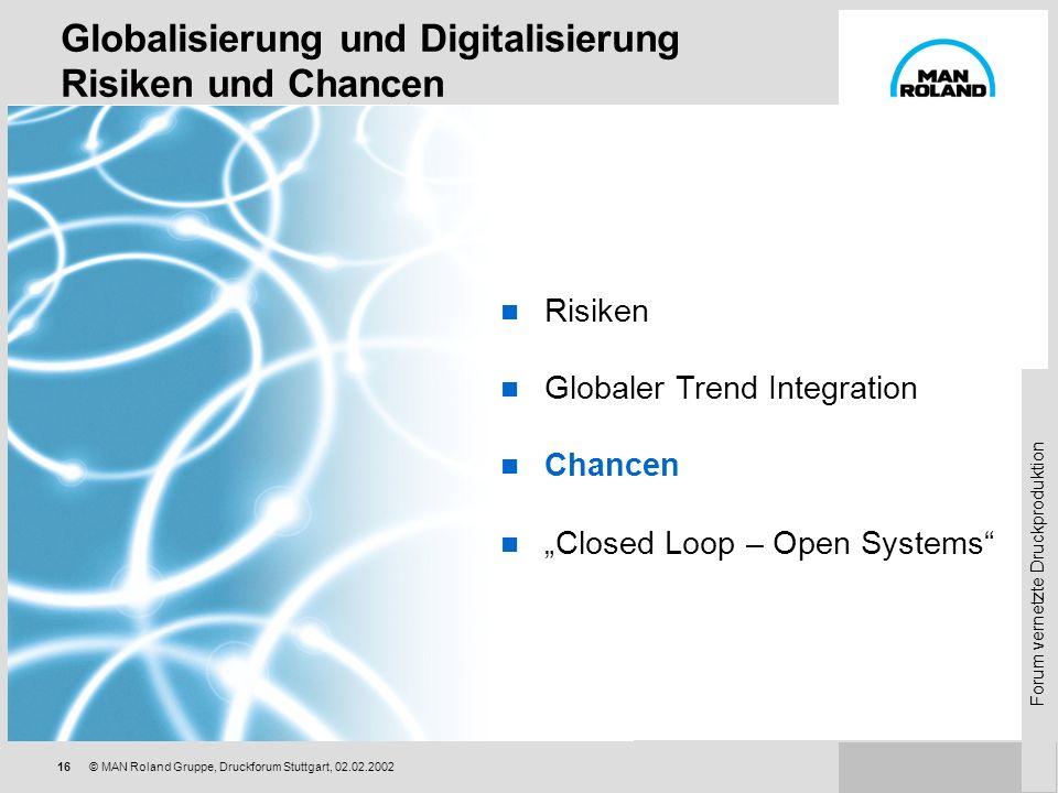 Forum vernetzte Druckproduktion 15© MAN Roland Gruppe, Druckforum Stuttgart, 02.02.2002 Privater Erlebnisbereich Internet und Homebanking Generation v