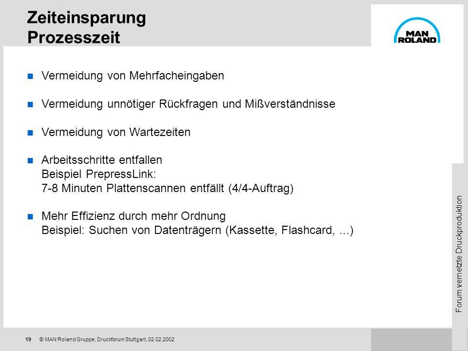 Forum vernetzte Druckproduktion 18© MAN Roland Gruppe, Druckforum Stuttgart, 02.02.2002 Zeiteinsparung Focus auf Prozesszeit Zeitanteil pro Auftrag: D