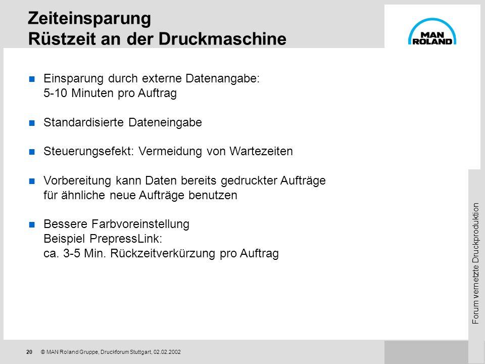 Forum vernetzte Druckproduktion 19© MAN Roland Gruppe, Druckforum Stuttgart, 02.02.2002 Vermeidung von Mehrfacheingaben Vermeidung unnötiger Rückfrage