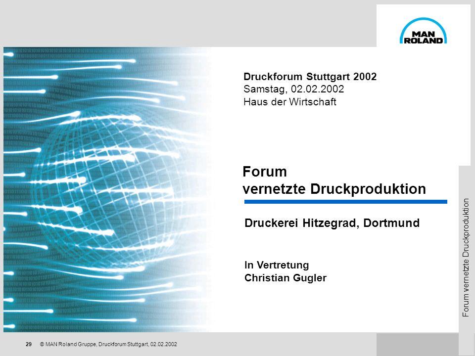 Forum vernetzte Druckproduktion 28© MAN Roland Gruppe, Druckforum Stuttgart, 02.02.2002 Unser Engagement als Hersteller Netzwerkkomponenten von MAN Ro