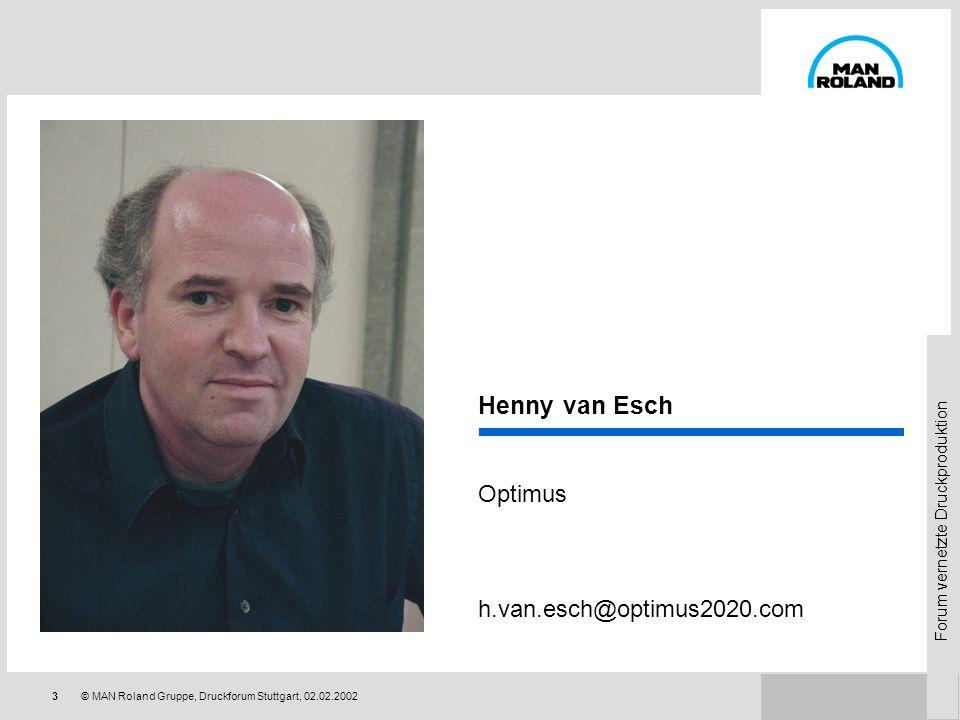 Forum vernetzte Druckproduktion 23© MAN Roland Gruppe, Druckforum Stuttgart, 02.02.2002 Qualitätssteigerung durch Kommunikationsverbesserung Die Qualität der Druckprodukte basiert auf der Qualität der Kommunikation Programmierte Kommunikation bedeutet bessere Dienstleistung vor allem für den Kunden