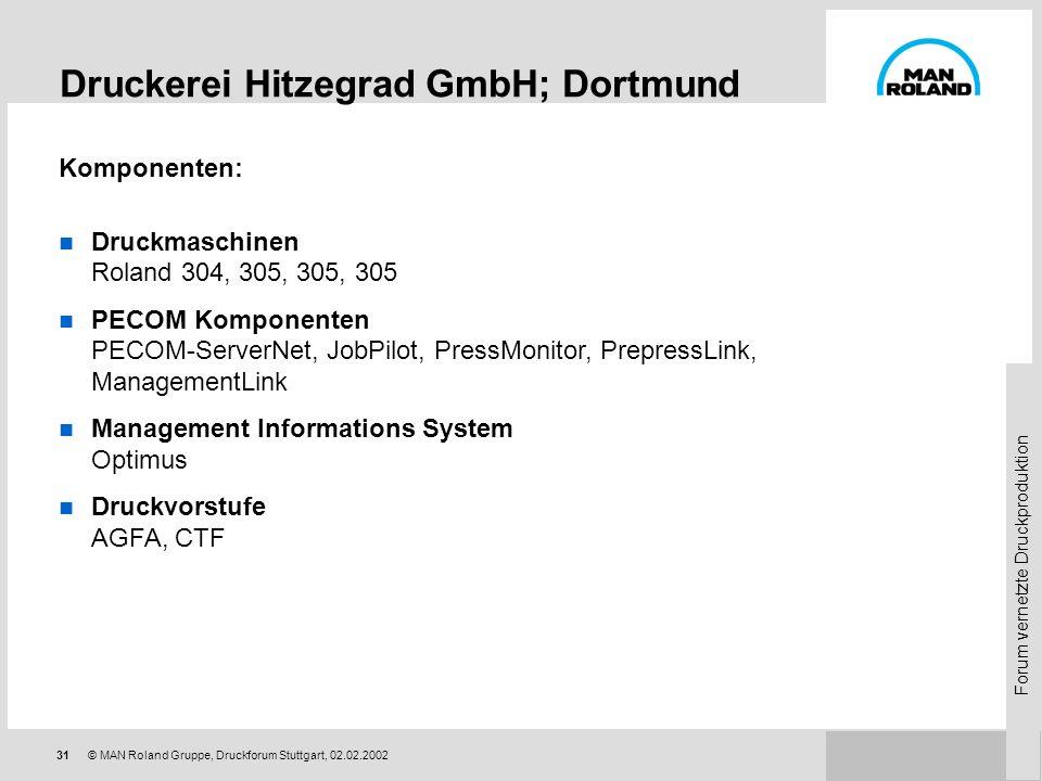 Forum vernetzte Druckproduktion 30© MAN Roland Gruppe, Druckforum Stuttgart, 02.02.2002 Druckerei Hitzegrad GmbH; Dortmund Akizenddruckerei; ca. 40 Mi