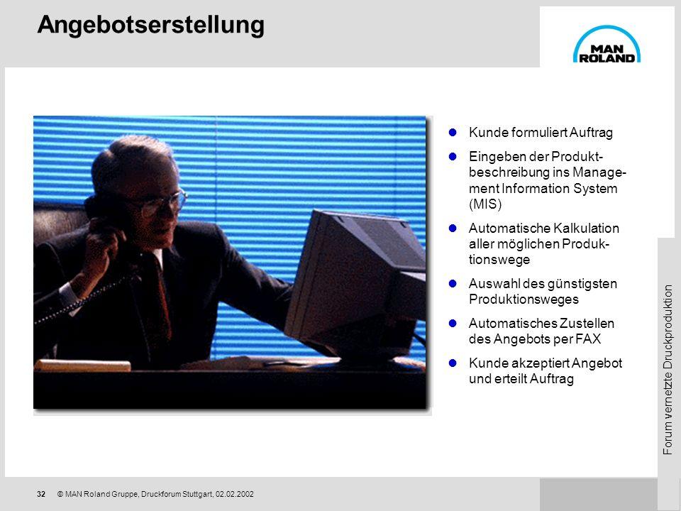 Forum vernetzte Druckproduktion 31© MAN Roland Gruppe, Druckforum Stuttgart, 02.02.2002 Komponenten: Druckmaschinen Roland 304, 305, 305, 305 PECOM Ko