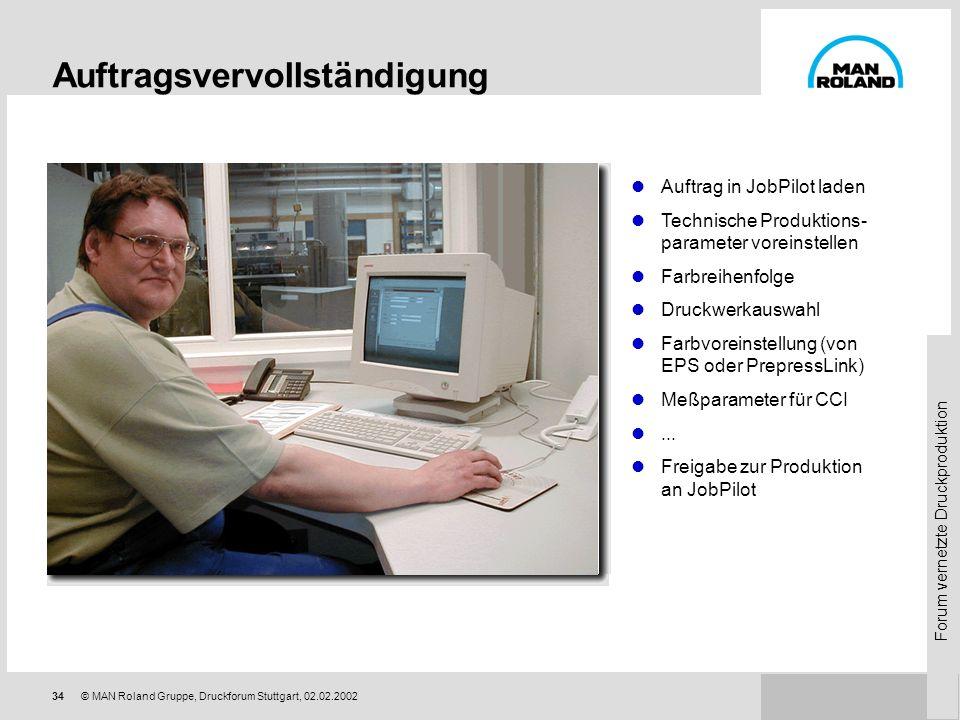 Forum vernetzte Druckproduktion 33© MAN Roland Gruppe, Druckforum Stuttgart, 02.02.2002 Auftragstransfer via ManagementLink Produktdaten werden der Pr