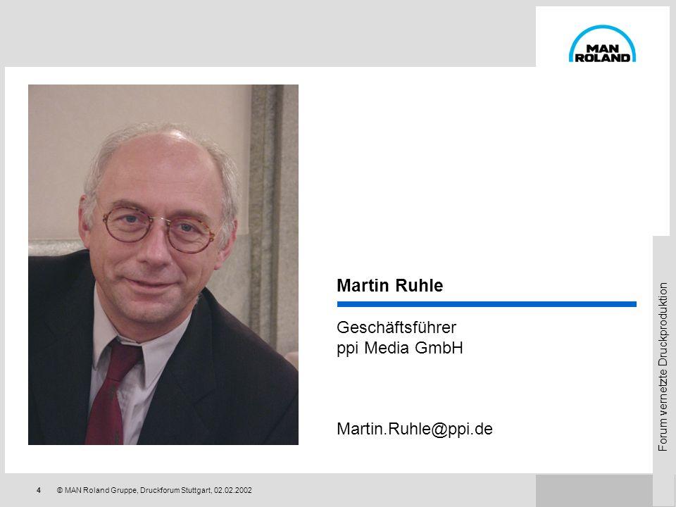 Forum vernetzte Druckproduktion 24© MAN Roland Gruppe, Druckforum Stuttgart, 02.02.2002 Qualitätssteigerung durch Kommunikationsverbesserung Produktqualität Dienstleistungsqualität Qualitätsimage Qualität von Management- Entscheidungen