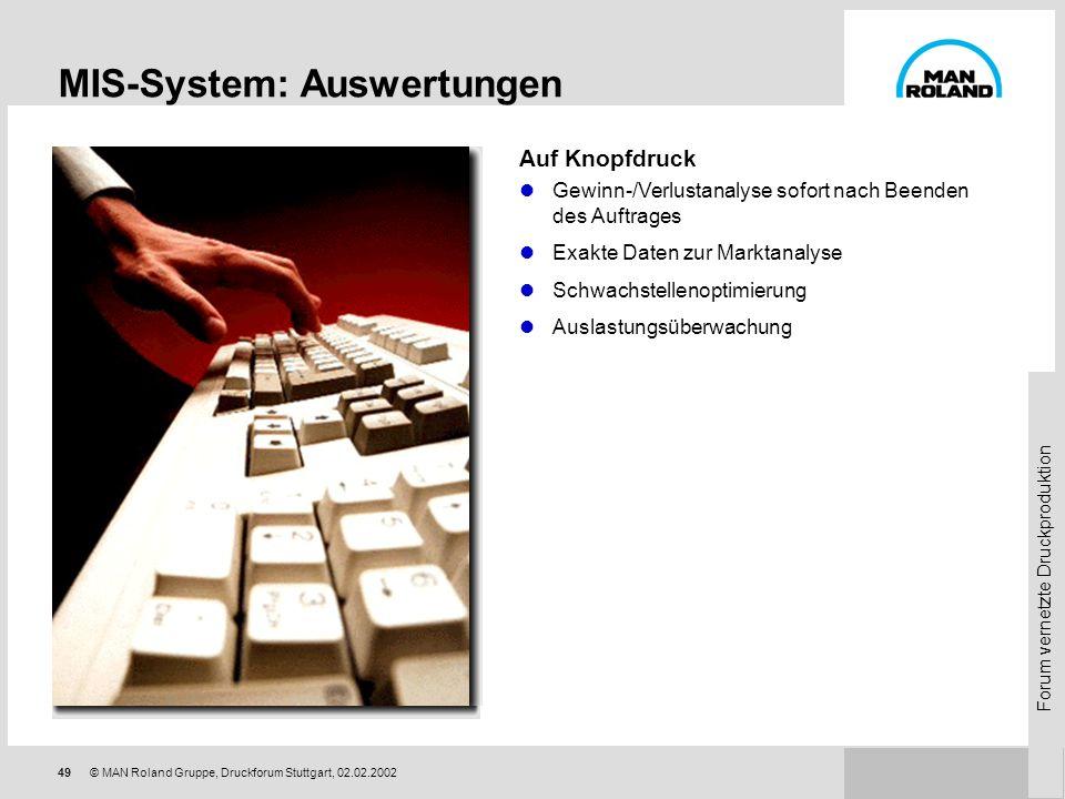 Forum vernetzte Druckproduktion 48© MAN Roland Gruppe, Druckforum Stuttgart, 02.02.2002 Funktion Datenerfassung Die Daten werden zur Auswertung an das