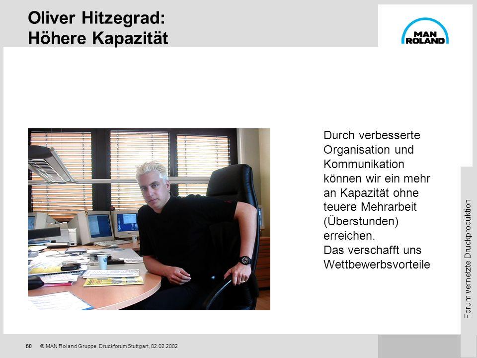 Forum vernetzte Druckproduktion 49© MAN Roland Gruppe, Druckforum Stuttgart, 02.02.2002 MIS-System: Auswertungen Gewinn-/Verlustanalyse sofort nach Be