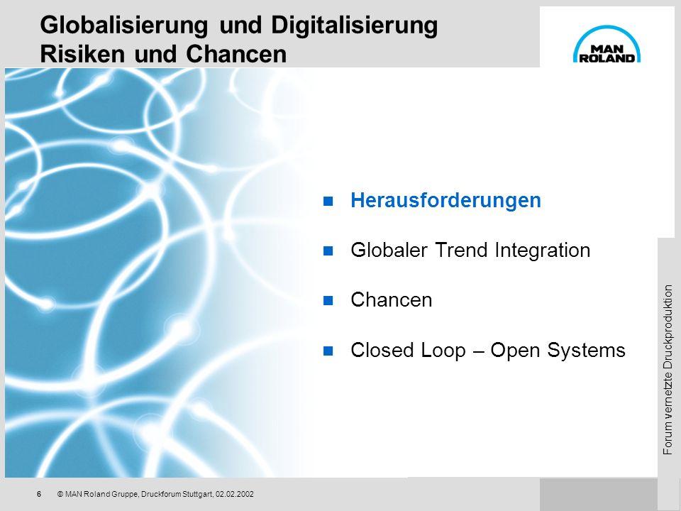 Forum vernetzte Druckproduktion 26© MAN Roland Gruppe, Druckforum Stuttgart, 02.02.2002 Globalisierung und Digitalisierung Risiken und Chancen Herausforderungen Globaler Trend Integration Chancen Closed Loop – Open Systems