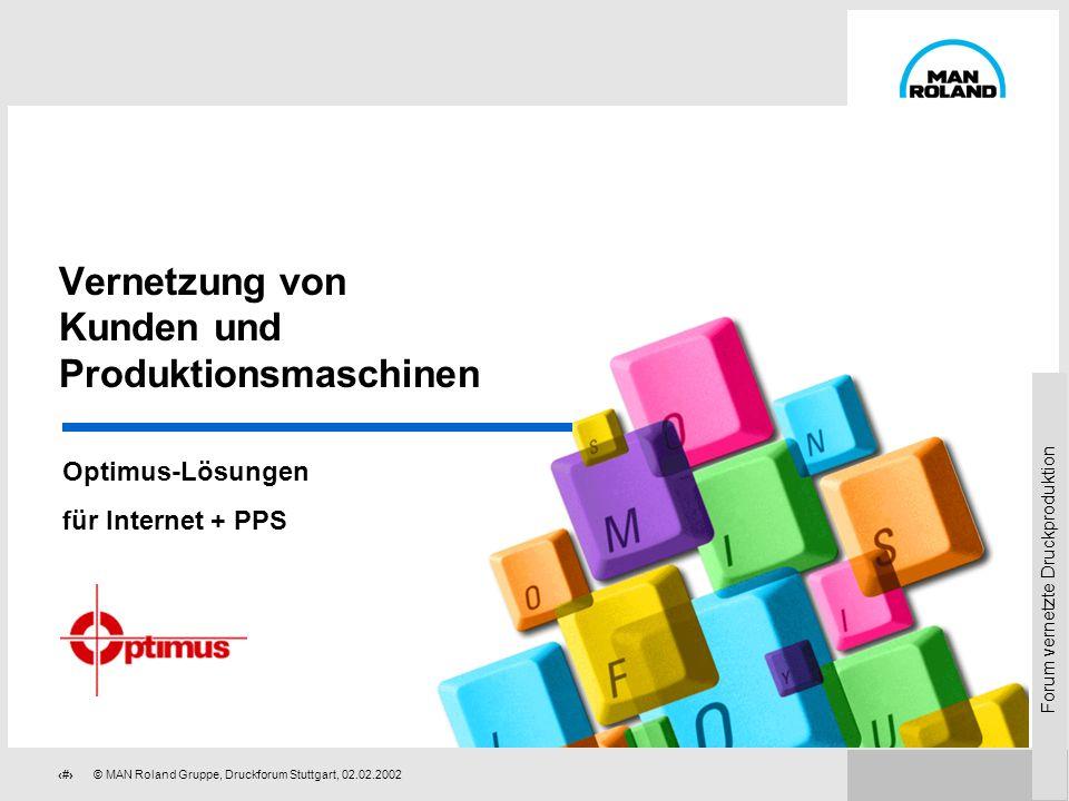 Forum vernetzte Druckproduktion 59 © MAN Roland Gruppe, Druckforum Stuttgart, 02.02.2002 Druckforum Stuttgart 2002 Samstag, 02.02.2002 Haus der Wirtsc