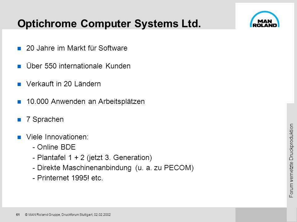 Forum vernetzte Druckproduktion 60 © MAN Roland Gruppe, Druckforum Stuttgart, 02.02.2002 Optimus-Lösungen für Internet + PPS Vernetzung von Kunden und