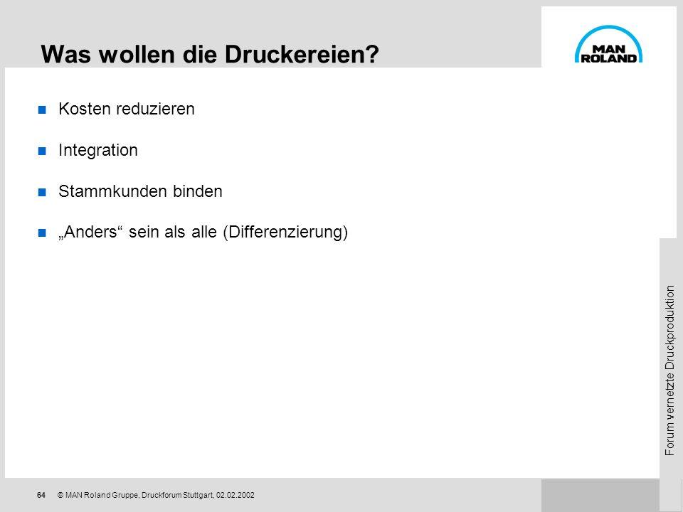 Forum vernetzte Druckproduktion 63© MAN Roland Gruppe, Druckforum Stuttgart, 02.02.2002 Erfahrungen im Internet als Markt Druckereien / Dot-coms - Dru
