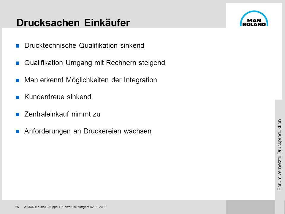 Forum vernetzte Druckproduktion 64© MAN Roland Gruppe, Druckforum Stuttgart, 02.02.2002 Was wollen die Druckereien? Kosten reduzieren Integration Stam