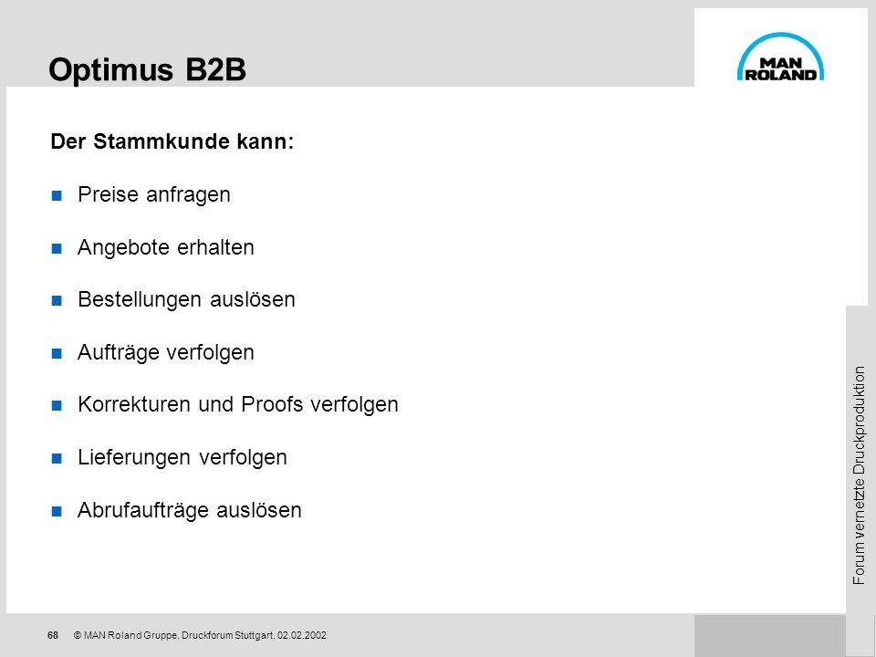 Forum vernetzte Druckproduktion 67© MAN Roland Gruppe, Druckforum Stuttgart, 02.02.2002 Optimus Business To Business Suite Optimus ist ein On-line, Ec